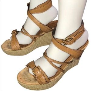 Burberry Leather Espadrille Wedge Sandals sz 9
